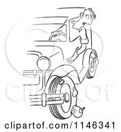 Cartoon Of A Black And White Man Hanging Out His Car Window To Find Blown Out Tires Royalty Free Vector Clipart