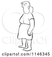Cartoon Of A Black And White Bored Woman Royalty Free Vector Clipart
