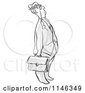 Cartoon Of A Black And White Businessman Looking Up Royalty Free Vector Clipart