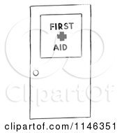 Cartoon Of A Black And White First Aid Door Royalty Free Vector Clipart