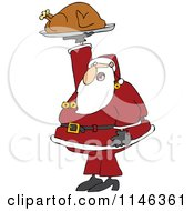 Cartoon Of Santa Holding Up A Roasted Turkey Royalty Free Vector Clipart