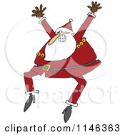 Santa Excitedly Jumping Up And Down
