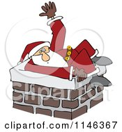 Cartoon Of  Santa Stuck In A Chimney And Waving For Help Royalty Free Vector Clipart