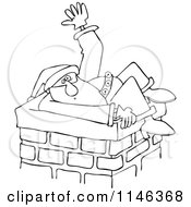 Cartoon Of An  Outlined Santa Stuck In A Chimney And Waving For Help Royalty Free Vector Clipart