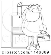 Cartoon Of An Outlined Santa In His Pajamas Trying To Fix A Furnace Royalty Free Vector Clipart by Dennis Cox