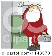 Cartoon Of Santa In His Pajamas Trying To Fix A Furnace Royalty Free Vector Clipart