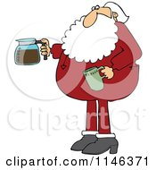 Santa In His Pajamas Holding A Coffee Cup And Pot
