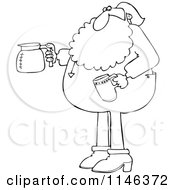 Outlined Santa In His Pajamas Holding A Coffee Cup And Pot
