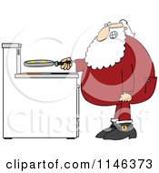 Cartoon Of Santa In His Pajamas Frying Eggs For Breakfast Royalty Free Vector Clipart