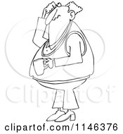 Cartoon Of An Outlined Man Holding Coffee Scratching His Head And Looking Up Royalty Free Vector Clipart