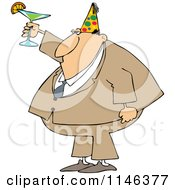 Cartoon Of A Businessman Wearing A Party Hat And Toasting Royalty Free Vector Clipart