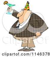 Cartoon Of A Businessman In A Plaid Jacket Wearing A Party Hat And Toasting Royalty Free Clipart