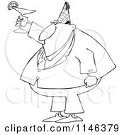 Cartoon Of An Outlined Businessman Wearing A Party Hat And Toasting Royalty Free Vector Clipart
