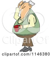Cartoon Of A Man Holding Coffee Scratching His Head And Looking Up Royalty Free Vector Clipart