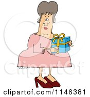 Cartoon Of A Woman Carring A Gift Box Royalty Free Vector Clipart