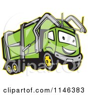 Happy Green Garbage Truck Mascot