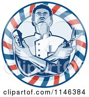 Woodcut Barber In A Pole Circle Holding Scissors And Clippers