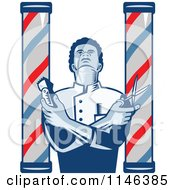 Clipart Of A Woodcut Barber Between Poles Holding Scissors And Clippers Royalty Free Vector Illustration