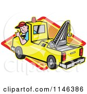 Cartoon Of A Happy Tow Truck Driver Holding A Thumb Up Over A Diamond Royalty Free Vector Clipart