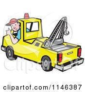 Cartoon Of A Happy Tow Truck Driver Holding A Thumb Up Royalty Free Vector Clipart