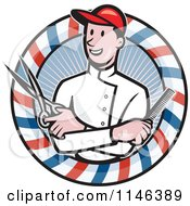 Cartoon Of A Barber With Crossed Arms Holding A Comb And Scissors In A Pole Circle Royalty Free Vector Clipart