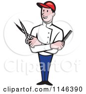 Cartoon Of A Happy Barber With Crossed Arms And A Comb And Scissors In Hand Royalty Free Vector Clipart by patrimonio
