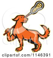 Cartoon Of A Retro Orange Dog Carrying A Lacrosse Stick Royalty Free Vector Clipart by patrimonio