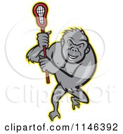 Cartoon Of A Lacrosse Gorilla Holding A Stick Royalty Free Vector Clipart by patrimonio