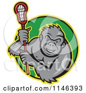 Cartoon Of A Lacrosse Gorilla Holding A Stick In A Green Circle Royalty Free Vector Clipart