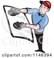 Cartoon Of A Glass Installer Holding A Windshield Royalty Free Vector Clipart