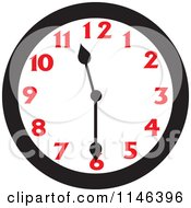 Cartoon Of A Wall Clock Showing 11 30 Royalty Free Vector Clipart