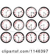 Cartoon Of Wall Clocks On The Half Hours Royalty Free Vector Clipart