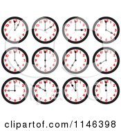 Cartoon Of Wall Clocks On The Hours Royalty Free Vector Clipart