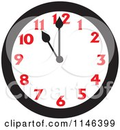 Cartoon Of A Wall Clock Showing 11 Royalty Free Vector Clipart