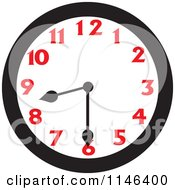 Cartoon Of A Wall Clock Showing 8 30 Royalty Free Vector Clipart