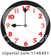 Cartoon Of A Wall Clock Showing 9 Royalty Free Vector Clipart