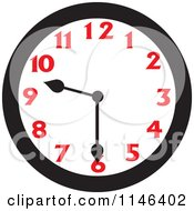 Cartoon Of A Wall Clock Showing 9 30 Royalty Free Vector Clipart