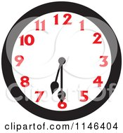 Cartoon Of A Wall Clock Showing 6 30 Royalty Free Vector Clipart