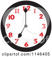 Cartoon Of A Wall Clock Showing 7 Royalty Free Vector Clipart