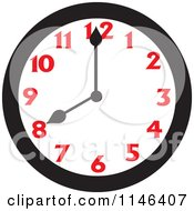Cartoon Of A Wall Clock Showing 8 Royalty Free Vector Clipart