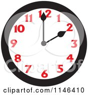 Cartoon Of A Wall Clock Showing 2 Royalty Free Vector Clipart