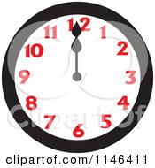 Cartoon Of A Wall Clock Showing 12 Royalty Free Vector Clipart