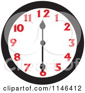 Cartoon Of A Wall Clock Showing 12 30 Royalty Free Vector Clipart by Johnny Sajem