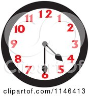 Cartoon Of A Wall Clock Showing 4 30 Royalty Free Vector Clipart
