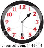 Cartoon Of A Wall Clock Showing 1 30 Royalty Free Vector Clipart