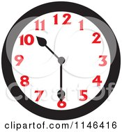 Cartoon Of A Wall Clock Showing 10 30 Royalty Free Vector Clipart