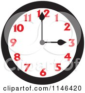 Cartoon Of A Wall Clock Showing 3 Royalty Free Vector Clipart
