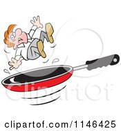 Cartoon Of A Man Over A Frying Pan Royalty Free Vector Clipart by Johnny Sajem