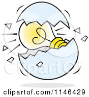 Cartoon Of A Light Bulb In A Cracked Egg Royalty Free Vector Clipart by Johnny Sajem