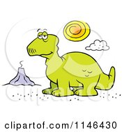 Cartoon Of A Depressed Dinosaur And Volcano Royalty Free Vector Clipart